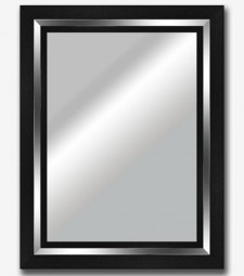 Espejo plano negro filo plata brillo 9cm_5799